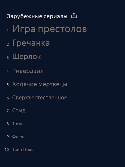 Зарубежные сериалы 2017 года в поиске Яндекса